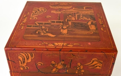 Antique Chinese Asian Red Lacquer Document Box