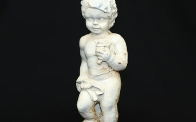 Antique French Cast Iron Cherub Garden Sculpture