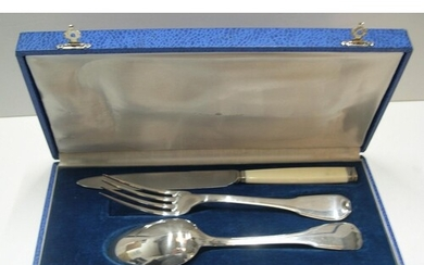 Antique French campaign solid silver cutlery set in original...