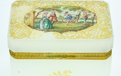 Antique Hand Painted French Opaline Glass Box