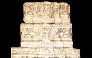 Architectual element, Fragment - white marble - Basement of Parikara in 3 elements - India - End of 12 century - Early 13th century / C.1200