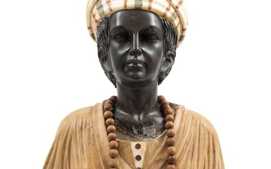 "Bust of Woman. 20th century. Carved and polychrome marble. 23.6"" (60 cm) tall"