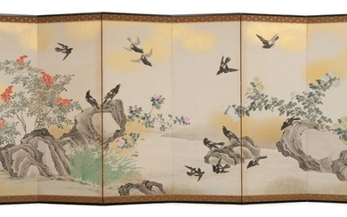 Byobu, Folding screen - paper in wooden frame - Utsumi Kichidô 内海吉堂 (1850~1925) - Dynamic painting of blossoming flowers and kasasagi birds along a lingering river - Japan - Late Meiji - Taisho period