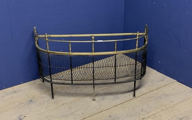 C19th bow front brass rail & wire mesh fire guard 93cm W