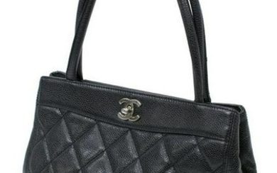 CHANEL QUILTED BLACK CAVIAR LEATHER TURNLOCK TOTE
