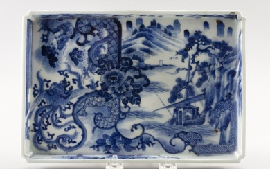 """CHINESE BLUE AND WHITE PORCELAIN TRAY Dragon, phoenix and landscape decoration. Height 1"""". Length 9.5"""". Width 6.5""""."""