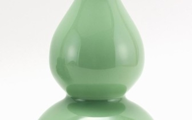"""CHINESE CELADON PORCELAIN VASE In double-gourd form. Six-character Qianlong mark on base. Height 8.75""""."""
