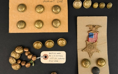 CIVIL WAR GRAND ARMY OF THE REPUBLIC BUTTONS MEDAL