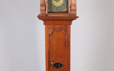 CONTINENTAL CARVED OAK TALL-CASE CLOCK, THE DIAL PAINTED WITH BLACKAMOOR...