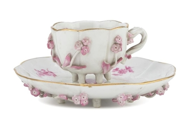 CUP AND SAUCER IN PORCELAIN - PROBABLY PARIS LATE 19TH CENTURY
