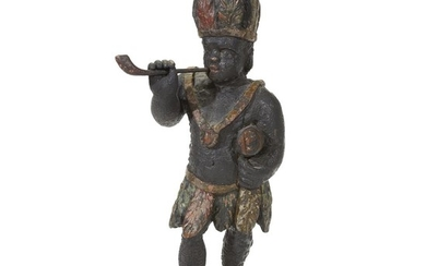 Carved and painted tobacconist counter figure 19th century H:...