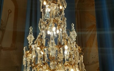 Chandelier - Louis XV Style - Bronze (gilt), Crystal - Late 19th century