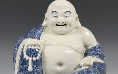 China, blue-white porcelain figure of Budai, early 20th...
