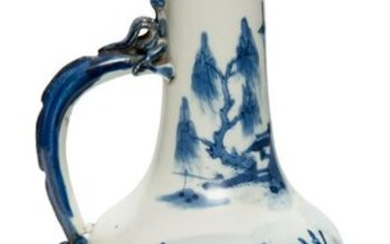 Chine Blue and White Amphora with a Dragon-Shaped