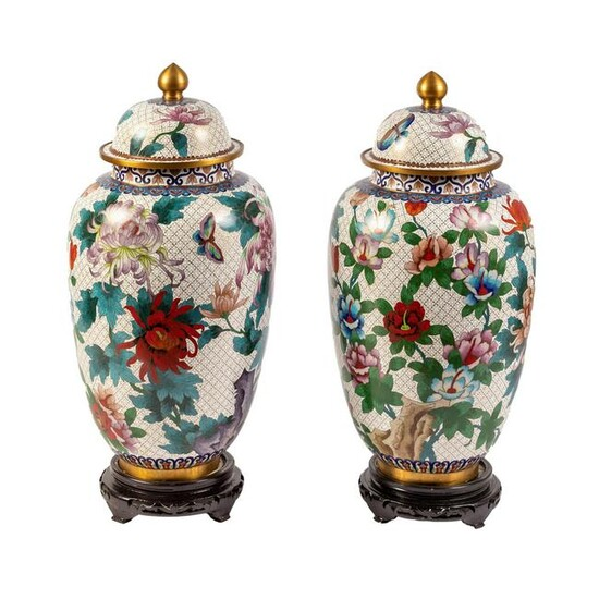 """Chinese 22"""" Cloisonne Polychrome Urn & Stand PAIR"""