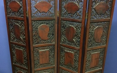 Chinese C19th porcelain inlaid four-panel folding screen, 12...