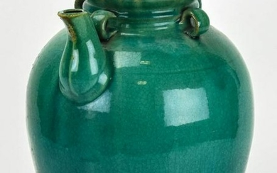 Chinese Green Gazed Pottery Jug or Vessel