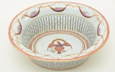 Chinese export porcelain reticulated basket with