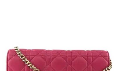 Christian Dior Cannage Quilted Leather Wallet-On-Chain