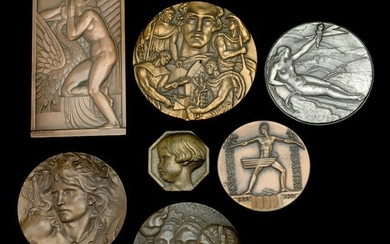 Collection of Seven Bronze Medallions, Some Art Deco.