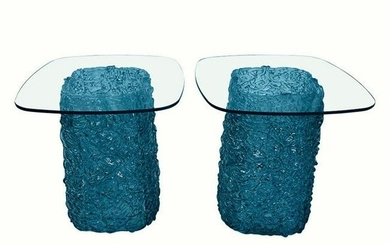 Contemporary Murano Hand Blown Glass side Tables