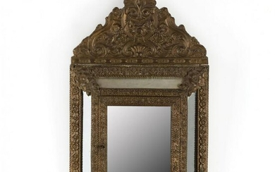 Continental Repousse Brass Hinged Door Mirror