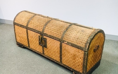 Continental Upholstered Dome-top Trunk, 19th century, ht. 22, wd. 50 1/2, dp. 17 in.