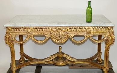 Continental marble top carved foyer table