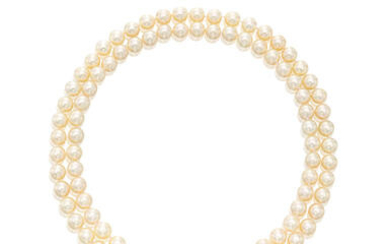 Cultured Pearl and Diamond Necklace/Brooch