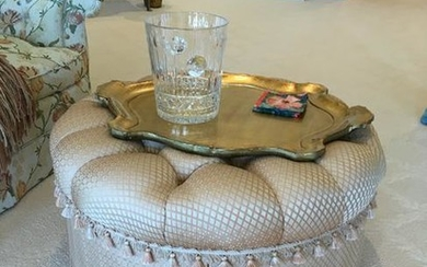 Custom Upholstered Ottoman with Tray