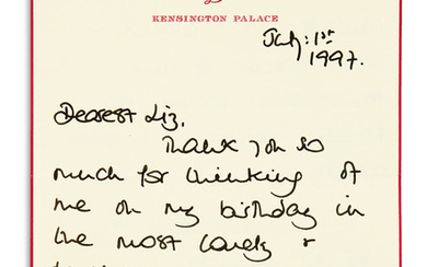 DIANA; PRINCESS OF WALES. Autograph Letter Signed, Diana, to Elizabeth Tilberis