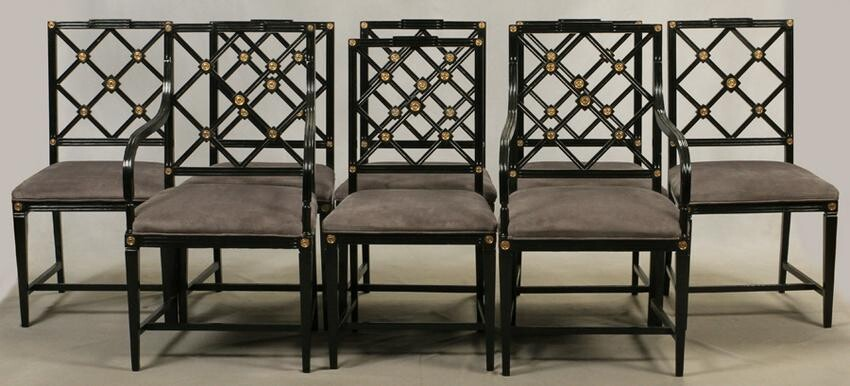 DINING CHAIRS, SET OF EIGHT, HEPPLEWHITE STYLE