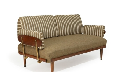Danish furniture design: Daybed with stained beech frame and legs, brass mountings and shoes, cushions with brown striped wool. L. 163/220 cm.
