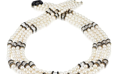 David Webb Cultured Pearl Rock Crystal and Enamel Necklace