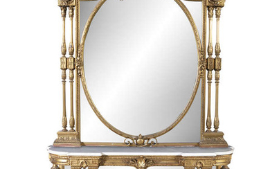 Description A FRENCH GILTWOOD AND MARBLE TOPPED CONSOLE TABLE,...
