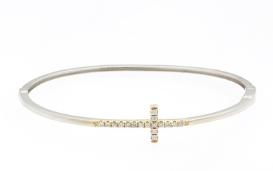 Diamond Cross Bangle Bracelet