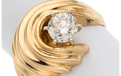 Diamond, Gold Ring The ring features a round brilliant-cut...