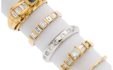 Diamond, Sapphire, Ruby, Gold Rings The lot includes a...