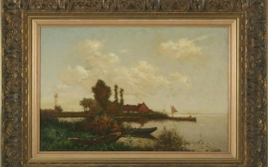 Dutch landscape with boats in reed collar by the lake