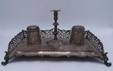 "ENGLISH SILVER DOUBLE INKWELL 7""H 12""W 19""D"