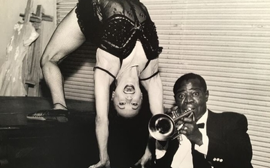 Eddy Wiggins (1904-1989) - Photo Jazz - Louis Amstrong et Meribeth Old à l'Olympia vers 1950