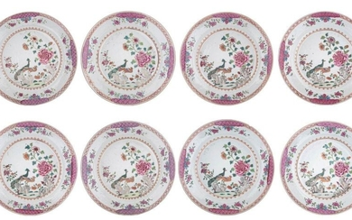 Eight Chinese famille rose 'Double Peacock' export dishes, decorated with...