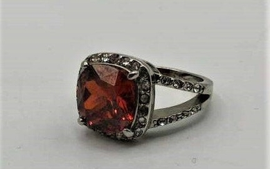 Elegant Stainless Costume Ring CZs Surround Red Stone