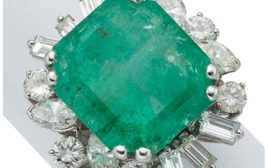 Emerald, Diamond, White Gold Ring The ring features an...