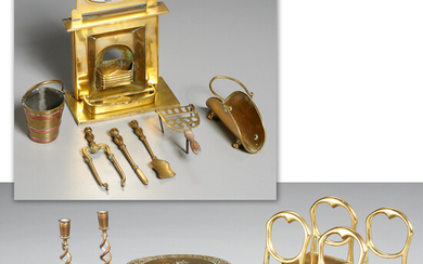 English brass miniature parlor and hearth objects