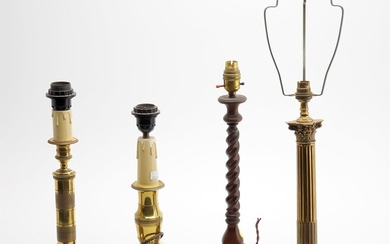 Five assorted modern table lamps