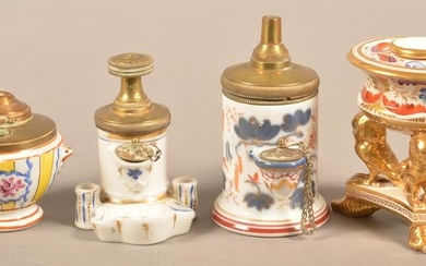Four Antique Porcelain/Pottery Hand-Painted Inkwells.