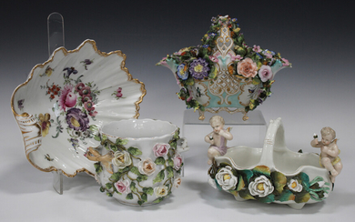 Four pieces of Continental porcelain, late 19th/early 20th century, comprising a shell shaped Meisse