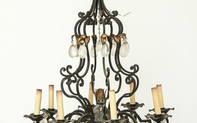 French Bronze 8-Light Chandelier w Rock Crystal