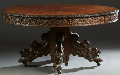 French Carved Oak Renaissance Style Dining Table, c.